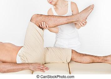 kvinde, massaging, mand, fod