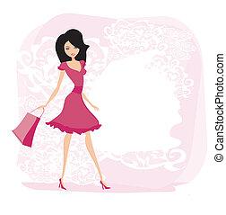 kvinde, mode, indkøb