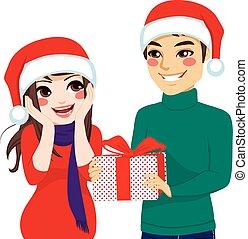 kvinde, modta, gave, jul