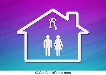 kvinde, nøgler, hus, inderside, avis, mand