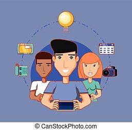 kvinde, netværk, iconerne, medier, mænd, sociale, bruge, mobiles