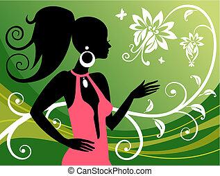 kvinde, og, blomstrede, prydelser