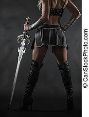 kvinde, og, sværd