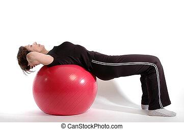 kvinde, på, fitness bold, 904