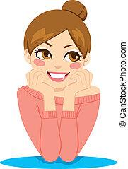 kvinde, pensive, glade