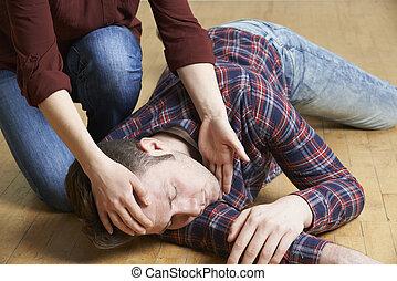 kvinde, placere, mand, ind, recovery, stilling, efter, ulykke