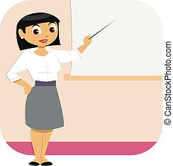 kvinde, præsentation, firma