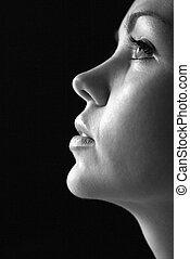 kvinde, profil, portrait.