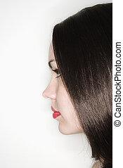 kvinde, profile., brunette