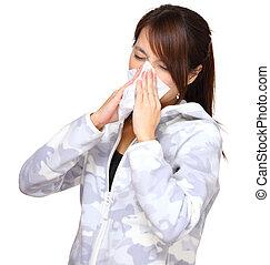 kvinde, puste næse, syg