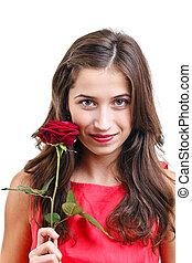 kvinde, rose