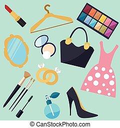kvinde, sæt, ting, genstand, vektor, materiale, pige, mode, ikon