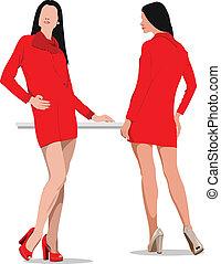 kvinde, selskab., clothing., unge, sport