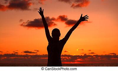 kvinde, silhuet, ind, solnedgang, lys