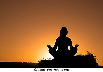kvinde, silhuet, indgåelse, yoga