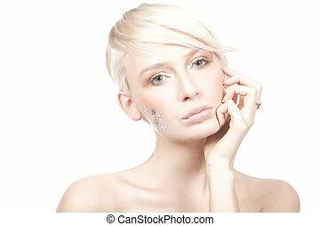 kvinde, skønhed, unge, isoleret, baggrund, portræt, hvid