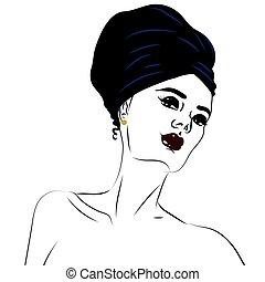 kvinde, skønhed, unge, isoleret, white., portræt