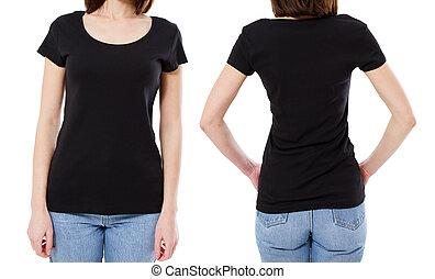 kvinde, skjorte, image, -, unge, klippet, sort baggrund, hvid