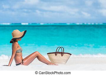 kvinde, sol, -, bag, bikini, garvning, sexet, hat strand