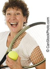 kvinde, spiller, ælde, tennis, midte, atlet, senior, ophids