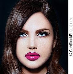kvinde, stilfuld, kaukasisk, makeup, mode, glans, rense, naturlig, unge, closeup, smukke, læber, portræt, look., hud, perfekt, lyserød, høj, sexet, model, klar