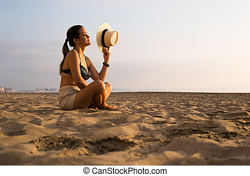 kvinde, strand, solopgang