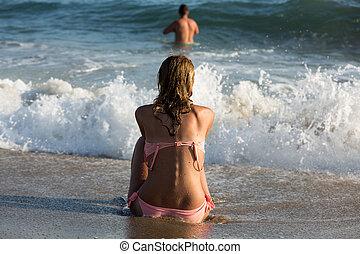 kvinde, strand, solopgang, unge, siddende