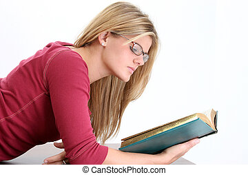 kvinde, teenager, læsning