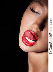 kvinde, udfordrende, hende, carnality., lips., slikke, passion, lust., sexet, rød
