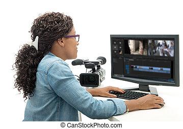 kvinde, unge, amerikaner, redaktør video, kønne, afrikansk