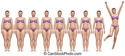 kvinde, vægt, held, anfald, diæt, tyk, efter, foran