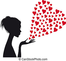 kvinde, vektor, rød, hjerter