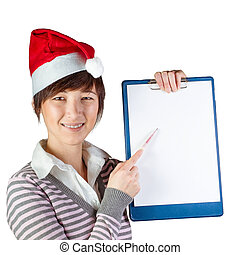 kvinde, viser, på, whiteboard