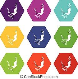 kvindelig, aerialist, ikon, sæt, farve, hexahedron