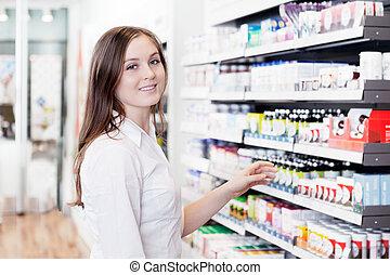 kvindelig, apoteker, ind, apotek, butik
