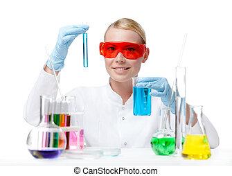 kvindelig doktor, gør, noget, eksperimenterne