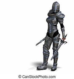 kvindelig, fantasien, ridder
