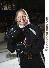kvindelig, hockey, coach.