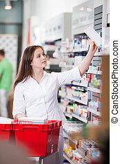 kvindelig, hos, drugstore