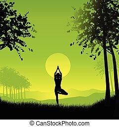 kvindelig, ind, yoga poser