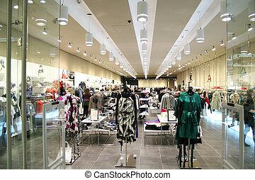 kvindelig, klæder, ind, shop