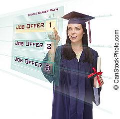 kvindelig, knap, unge, graduere, arbejde, udkårer, gennemskinnelig, panel
