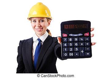 kvindelig, konstruktion arbejder, hos, regnemaskine