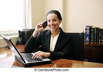 kvindelig, kontor, tales, laptop, telefon, sagfører, bruge