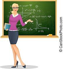 kvindelig lærer, hos, sort vægtavle