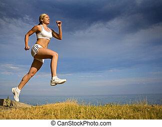 kvindelig, løber