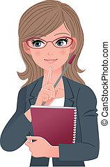 kvindelig, lecturer, winking, hos, pegepind stik