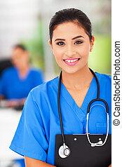 kvindelig, medicinsk, sygeplejerske, ind, kontoret