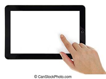 kvindelig ræk, pege, på, tablet, hos, blank skærm, isoleret
