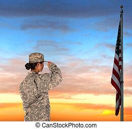 kvindelig, soldat, saluting, flag